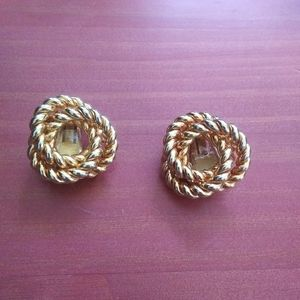 Vintage heavy gold woven knot clip on earrings